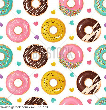 Donut Pattern. Seamless Texture Of Sweet Desserts. Tasty Doughnuts. Cartoon Glazed Confectionery And