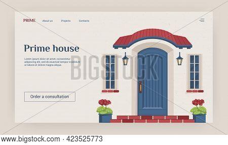 Door Landing Page. Website Interface Design. Sale Of Prime Houses. Cartoon Residential Building Faca