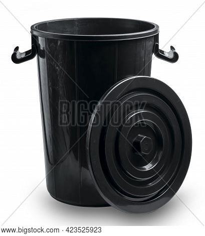 Black Bucket With Lid Isolated On White Background