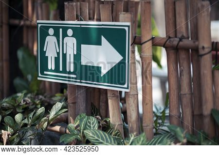 Sign Showing The Way To The Toilets Is Placed On The Bamboo Waterfront In The Garden.