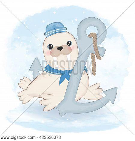Cute Walrus Sailor And Anchor Cartoon Arctic Animal Watercolor Illustration