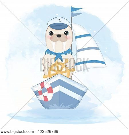 Cute Walrus Sailor Driving Boat And Swim Ring Hand Drawn Cartoon Animal Watercolor Illustration