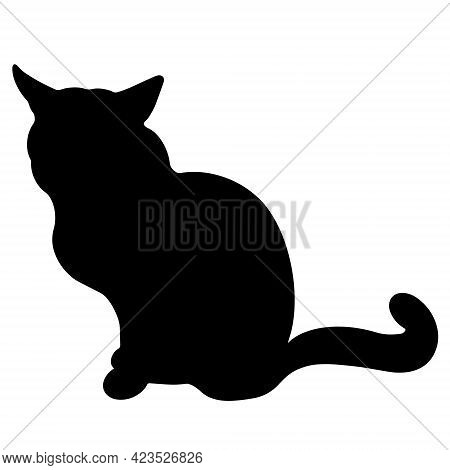 Black Cat Vector Icon. The Pet Is Sitting. Hand-drawn Silhouette Of The Beast. Isolated Illustration