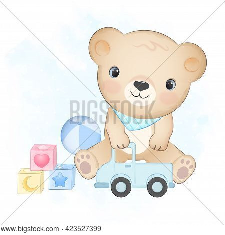 Cute Little Bear And Baby Toy Hand Drawn Illustration