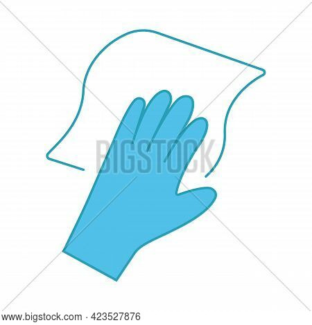 Cleaning Napkin Color Icon. Windows Cleaning Cloth. Surface Wiping, Disinfection. Isolated Vector Il