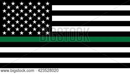 American Thin Green Line Flag. Support Of Of Border Patrol, Park Rangers, Conservation Personnel, Ga
