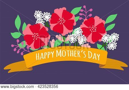 Happy Mother's Day Card. Flowers On Purple Background. Vector Illustration