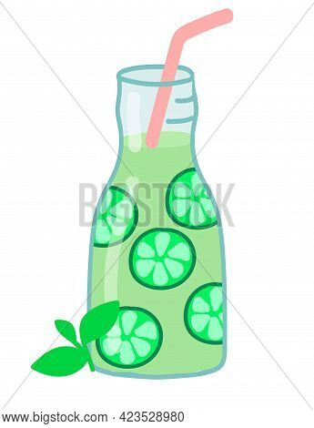 Cocktail Drink With Lime And Mint. On White Background