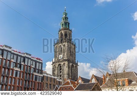 Groningen, Netherlands - March 07, 2020: Martini Tower And Apartment Buildings In The Center Of Gron