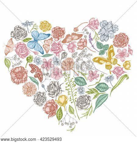 Heart Floral Design With Pastel Shepherd S Purse, Heather, Iris Japonica, Sakura, Gypsophila, Chamom