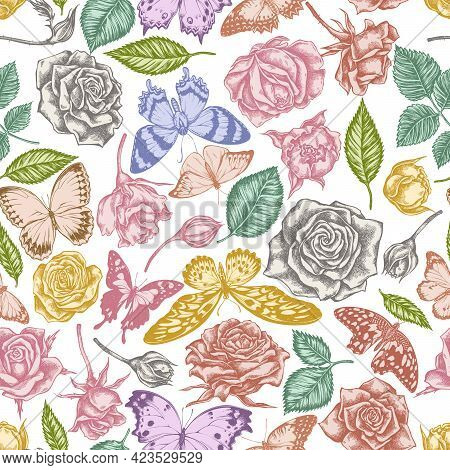 Seamless Pattern With Hand Drawn Pastel Lemon Butterfly, Red Lacewing, African Giant Swallowtail, Al