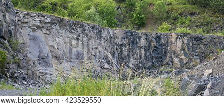 Basalt Rocks Mine. Close Up. Background. Texture.