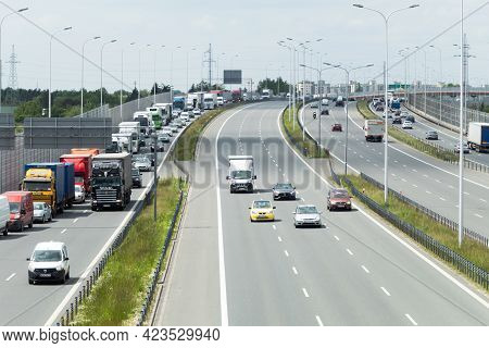 Warsaw, Poland - June 10, 2021: Traffic Flow On The Motorway During Rush Hour