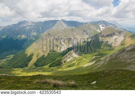 Panoramic View From The Summit Of Monte Bove Sud In The Marche Region, National Park Of Monti Sibill