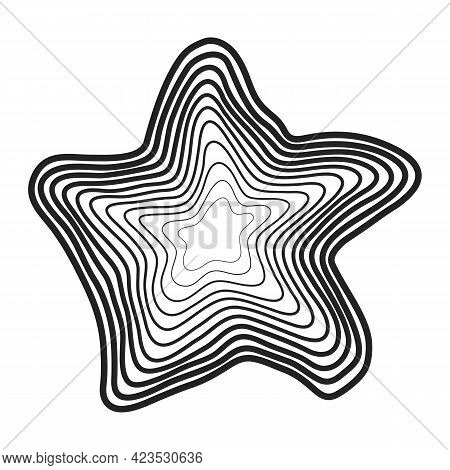 Concentric Black Wavy Lines That Makes An Abstract Organic Shape. Halftone Lines With Different Thic
