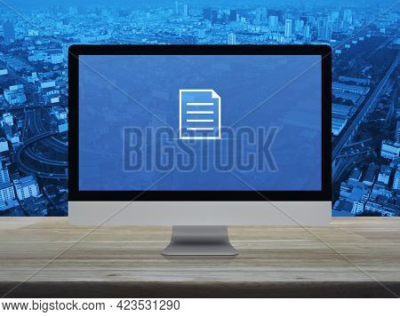Document Flat Icon On Desktop Modern Computer Monitor Screen On Wooden Table Over City Tower, Street