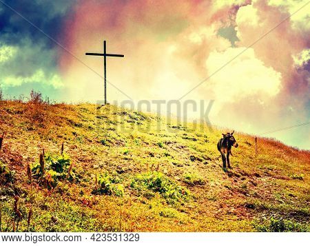 Wooden Cross At Wank Mountain Summit, With View To The Alps.  Abstract.