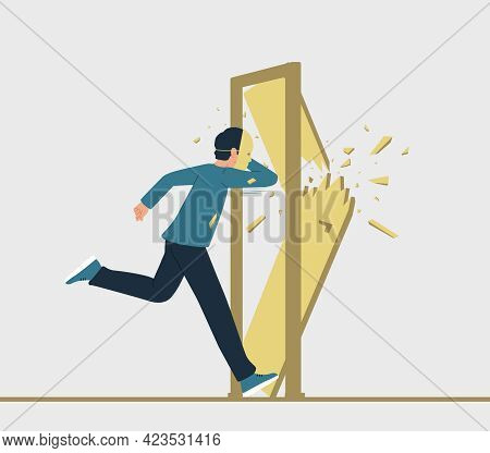 Vector Illustration Of A Running Man With A Mask On His Face, Destroying A Closed Door In His Path.