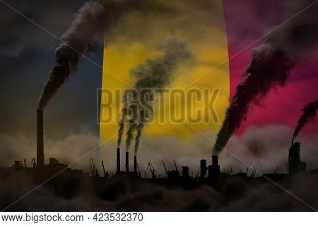 Global Warming Concept - Heavy Smoke From Industrial Pipes On Chad Flag Background With Space For Yo