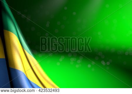 Nice Any Feast Flag 3d Illustration  - Photo Of Gabon Flag Hanging In Corner On Green With Soft Focu