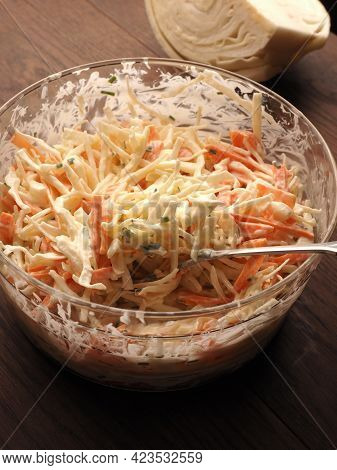 Traditional White Cabbage Salad With Carrots ,chives, Natural Yogurt And Vegan Mayonnaise. Everythin