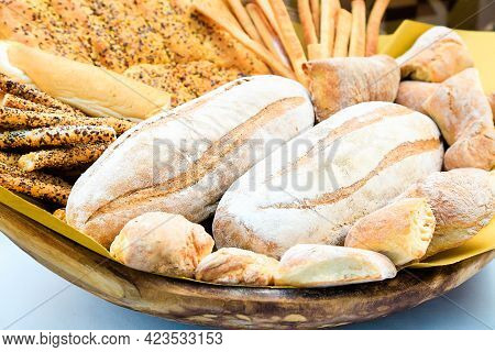 Fresh Homemade Bread Composition In Basket. Various Types Of Wheat Bakery In Sunday Market. Nutritio