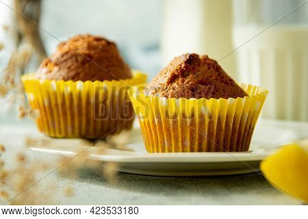 Delicious Muffins, Pastry And Bakes Concept. Freshly Baked Sweet Snack