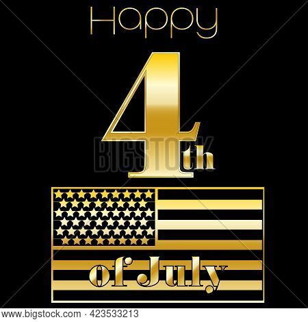 Number Four In Gold With The American Flag, Happy 4th Of July, Holiday Concept, Vector Illustration
