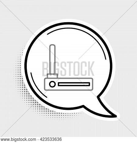 Line Router And Wi-fi Signal Symbol Icon Isolated On Grey Background. Wireless Ethernet Modem Router