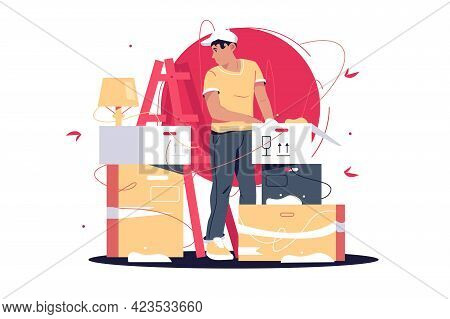 Man Unpacking Boxes After Moving In Vector Illustration. Young Guy Sort Out Belongings In New Apartm