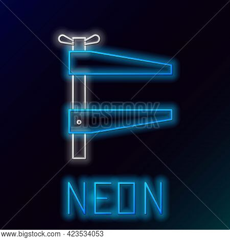Glowing Neon Line Clamp Tool Icon Isolated On Black Background. Locksmith Tool. Colorful Outline Con