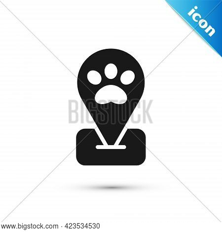 Grey Location Pet Grooming Icon Isolated On White Background. Pet Hair Salon. Barber Shop For Dogs A