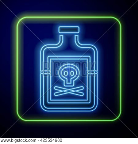Glowing Neon Poison In Bottle Icon Isolated On Blue Background. Bottle Of Poison Or Poisonous Chemic