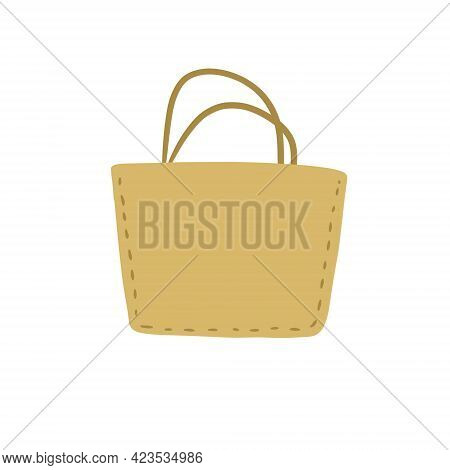 Fabric Bag. Cloth Eco Shopper. Flat Cartoon Illustration