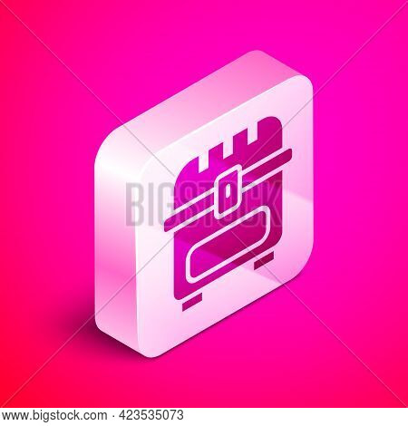 Isometric Antique Treasure Chest Icon Isolated On Pink Background. Vintage Wooden Chest With Golden