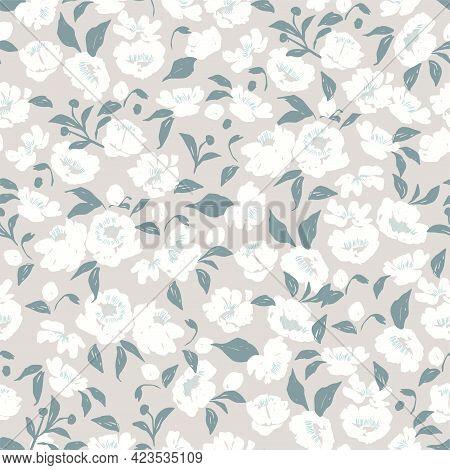 Hand-drawn Pen Brush Textured Flower And Leaf Illustration Motif Seamless Repeat Pattern Digital Fil