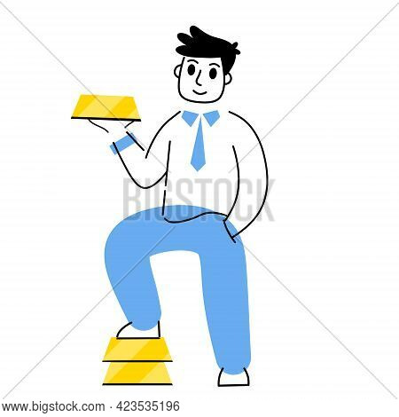 Investing In Gold. Businessman With Bunch Of Bullion. Stack Of Yellow Metal Bars Or Ingot. Growing W