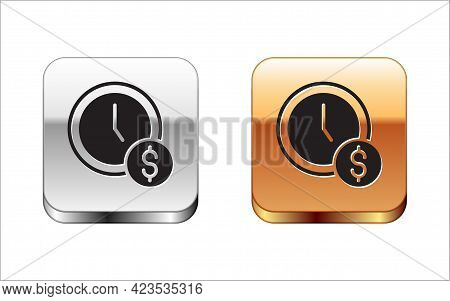 Black Time Is Money Icon Isolated On White Background. Money Is Time. Effective Time Management. Con