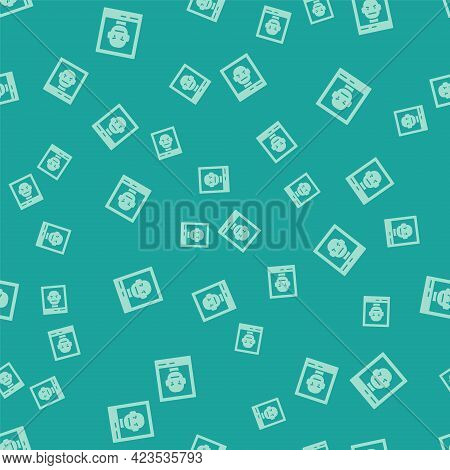 Green Wanted Poster Icon Isolated Seamless Pattern On Green Background. Reward Money. Dead Or Alive