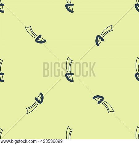 Blue Pirate Sword Icon Isolated Seamless Pattern On Yellow Background. Sabre Sign. Vector