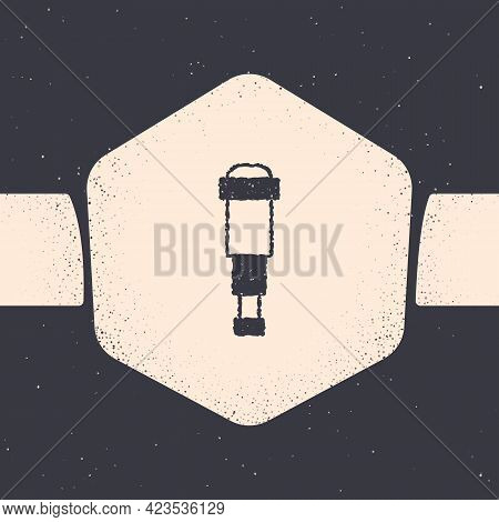 Grunge Spyglass Telescope Lens Icon Isolated On Grey Background. Sailor Spyglass. Monochrome Vintage