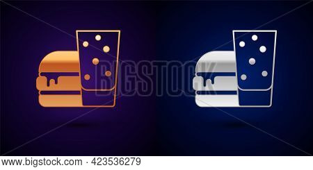 Gold And Silver Burger Icon Isolated On Black Background. Hamburger Icon. Cheeseburger Sandwich Sign