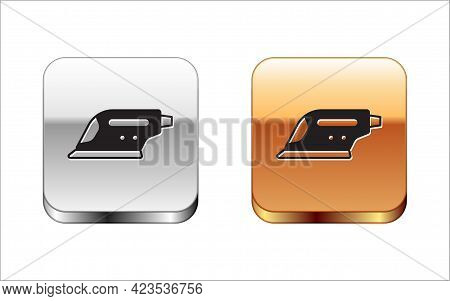 Black Electric Iron Icon Isolated On White Background. Steam Iron. Silver And Gold Square Buttons. V
