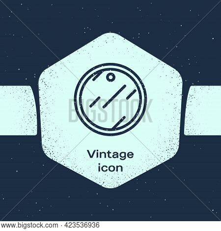 Grunge Line Cutting Board Icon Isolated On Blue Background. Chopping Board Symbol. Monochrome Vintag