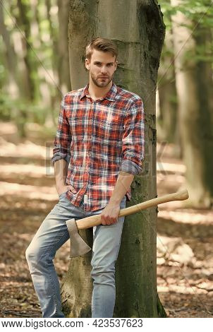 Ranch Man In Checkered Shirt Hold Ax, Style