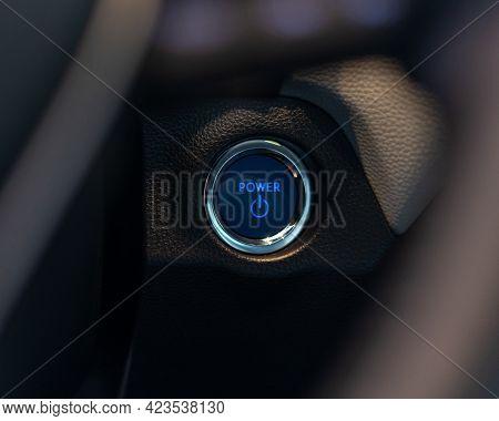 Car Instrument Panel Start Power Button Dashboard With Speedometer, Tachometer, Odometer