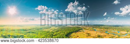 Aerial View Green Forest Woods And River Landscape In Sunny Summer Day. Top View Of Beautiful Europe