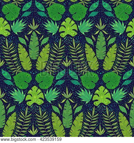 Seamless Damask Pattern With Monstera, Banana And Liana Leaves On Dark Blue Background. Tropical Wal