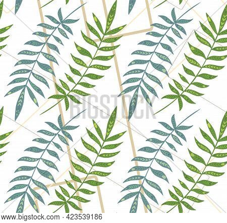 Seamless Pattern With Tropical Leaves With Folk Decoration On Geometric Lines. Texture With Green Le