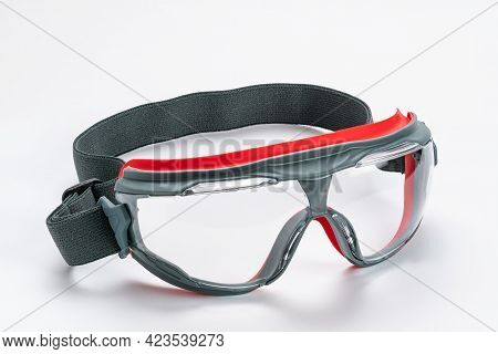 Side View Of Multipurpose Goggles Isolated On White Background With Clipping Path.
